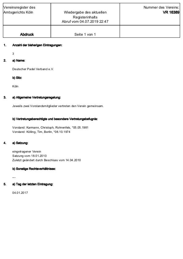 04 Juli 2019 Vereinsregister Köln VR 16389 Aktueller Abdruck