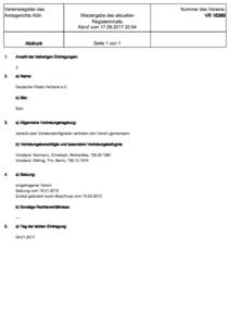 Deutscher Padel Verband Vereinsregister Köln