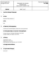 Vereinsregister Köln 16389 Deutscher Padel Verband